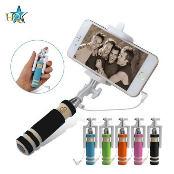 HQ X6-B Kabatas Selfie Stick 55cm Teleskopisks - Mini Stiprinājums ar vada kabeli un foto pogu rokturī Melns Selfy Stick