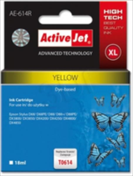 Ink ActiveJet AE-614R | Yellow | 18 ml | Epson T0614 kārtridžs