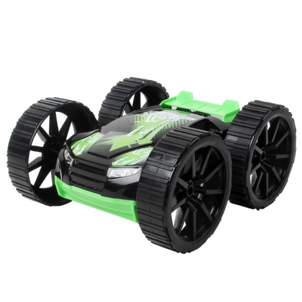 Double Roll Stunt 360 Double-Side Car Radio Control Hot Speed Racing  green on black Radiovadāmā rotaļlieta