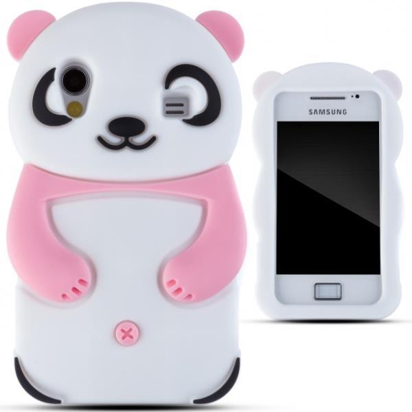 Zooky Silikona 3D telefona apvalks Samsung S5830 Galaxy Ace Panda Rozā aksesuārs mobilajiem telefoniem