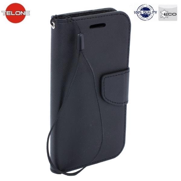 Telone Fancy Diary Book Case ar stendu Huawei P8 sāniski atverams Melns maciņš, apvalks mobilajam telefonam