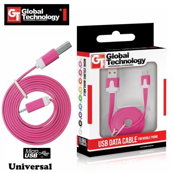 Global Technology Flat & Soft Universal Micro USB Cable 1m kabelis