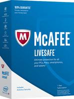 McAfee 2017 LiveSafe (Code in a Box) programmatūra