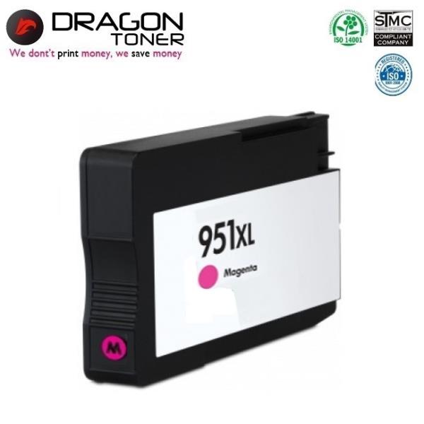 Dragon HP 951XL Magenta CN047A Sarkans Tintes Kārtridžs 25ml priekš OfficeJet Pro 8100 8600 N911a uc HQ Premium Analogs aksesuārs mobilajiem telefoniem