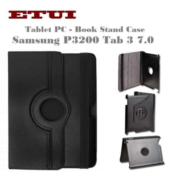 case Eko ādas maks ar rotējošu statīva mehānismu priekš Samsung P3200 Tab 3 7.0 Melns planšetdatora soma