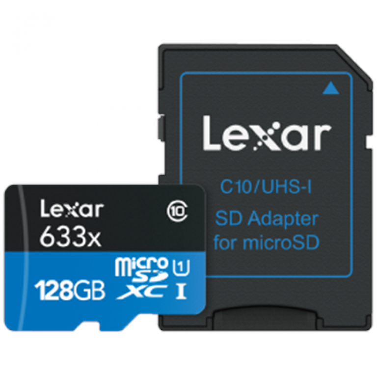 Lexar High-Performance 633x 128 GB, MicroSDXC, Flash memory class 10, With adapter atmiņas karte