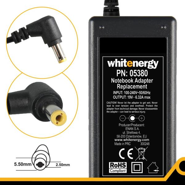 Whitenergy AC adapter 19V/6.32A 120W plug 5.5x2.5mm Toshiba portatīvo datoru lādētājs