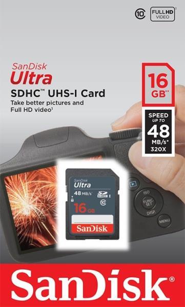 SANDISK 16GB Ultra SDHC 48MB/s Class 10 UHS-I atmiņas karte