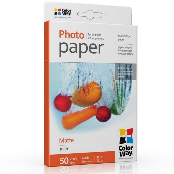 ColorWay Matte Photo Paper, 10x15, 190 g/m2, 50 sheets foto papīrs