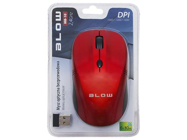 BLOW Optical Wireless Mouse MP-10 USB red Datora pele