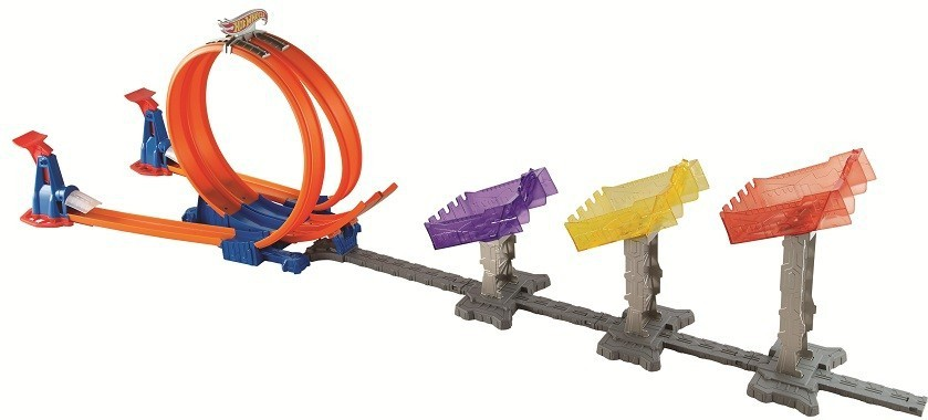 Hot Wheels double loop attack track set DJC05