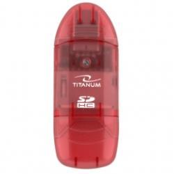 TITANUM Card Reader SDHC/MiniSDHC/MicroSDHC/RS/MM TA101R Red USB 2.0 karšu lasītājs