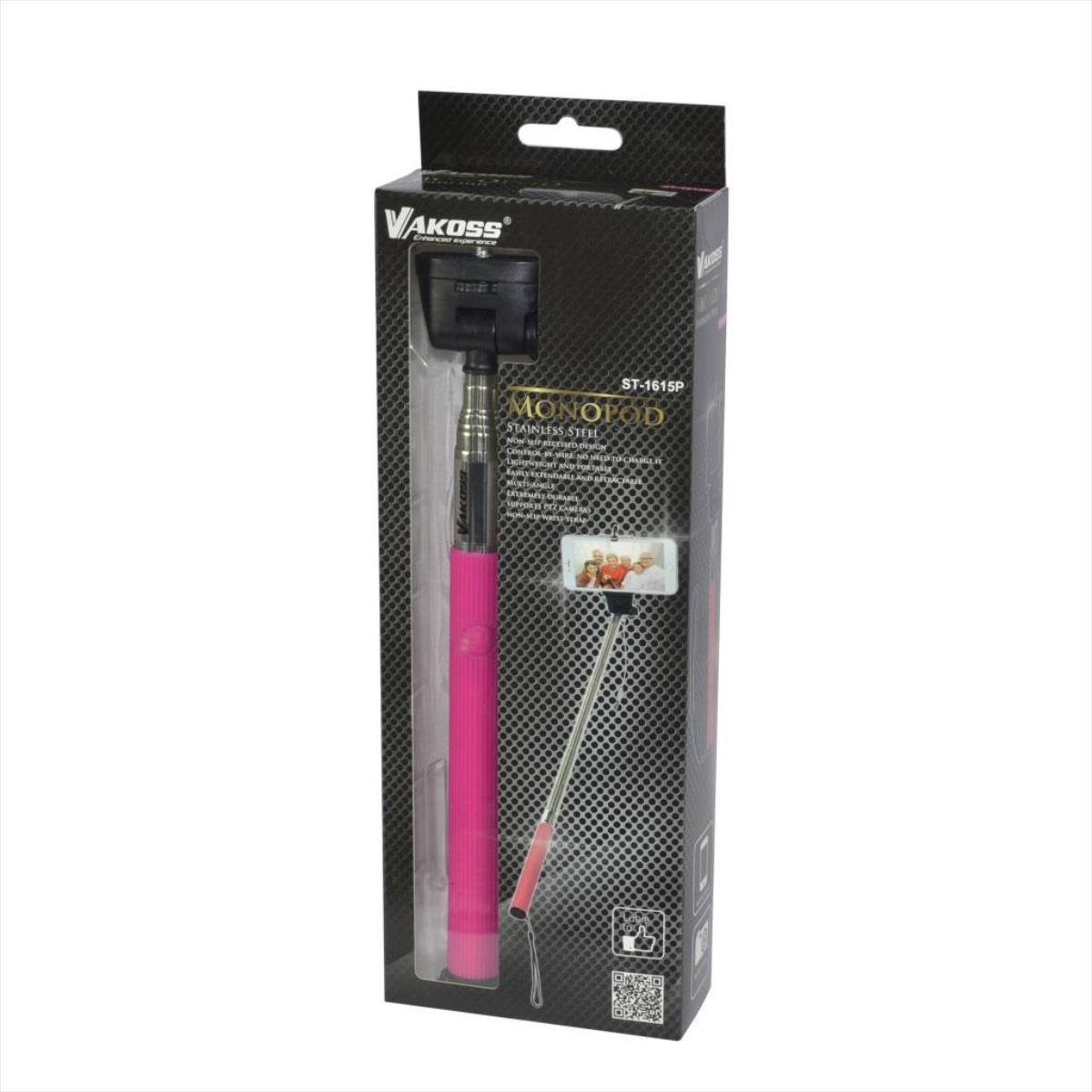 VAKOSS SELFIE Stick with cable minijack 3,5mm  ST-1615P pink Selfy Stick