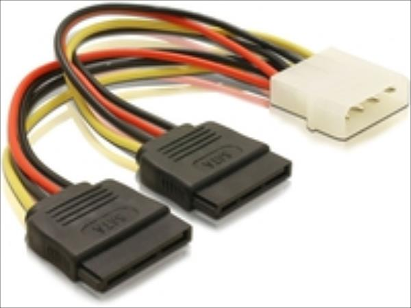 Delock power cable SATA HDD 2x > 4pin male, 16cm kabelis, vads