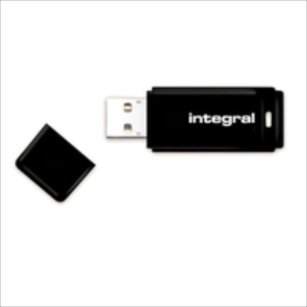 Integral USB 16GB Black, USB 2.0 with removable cap USB Flash atmiņa