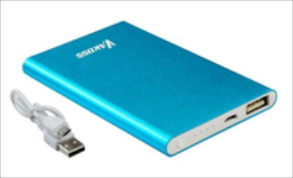 Vakoss TP-2574B, 5000mAh, Aliuminis, Blue Powerbank, mobilā uzlādes iekārta