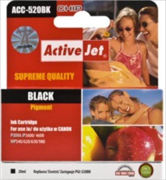Ink ActiveJet ACC-520BK   Black   20 ml   Chip   Canon PGI-520BK kārtridžs