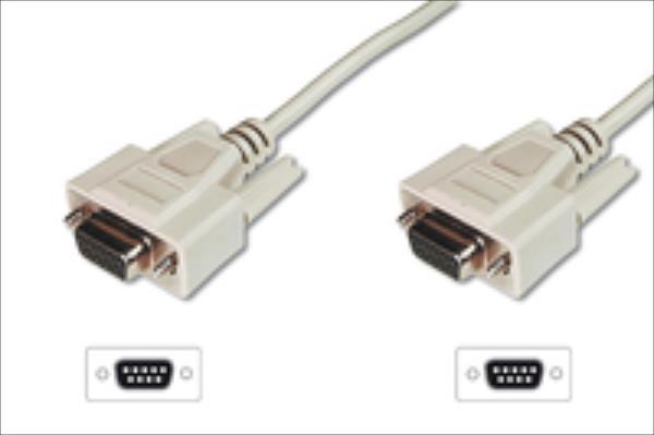 ASSMANN RS232 Connection Cable DSUB9 F (jack)/DSUB9 F (jack) 5m beige kabelis, vads