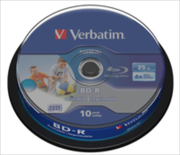 BluRay BD-R SL DATALIFE Verbatim [ Spindle 10 | 25GB | 6x [Wide PRINTABLE NO ID] matricas