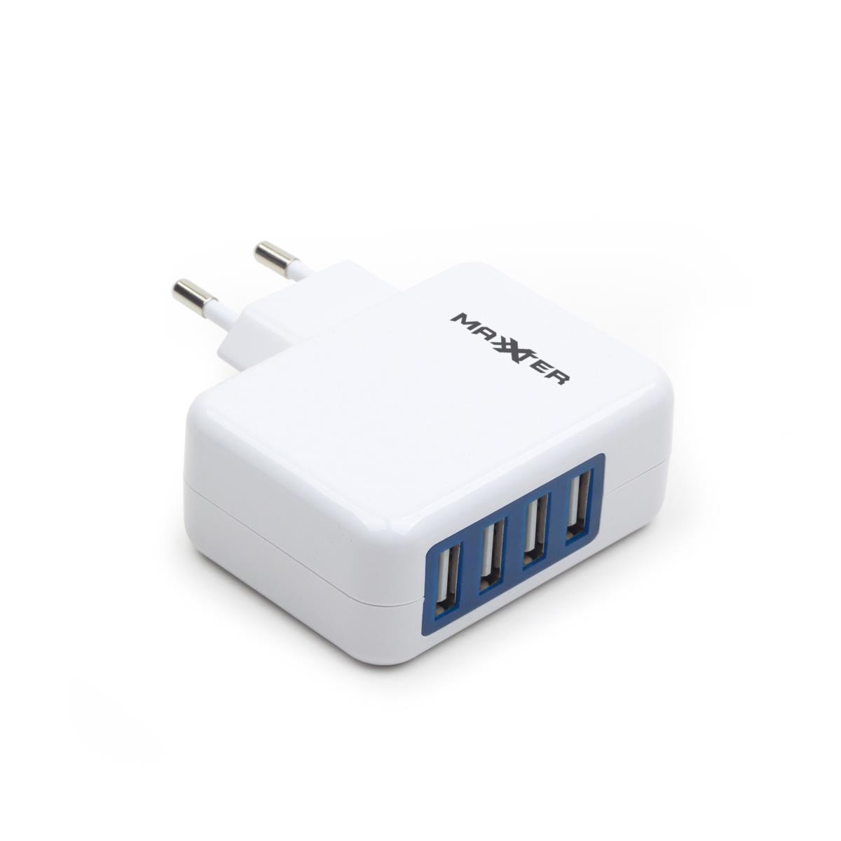 Gembird universal USB charger 3.1A, 4x USB, white lādētājs