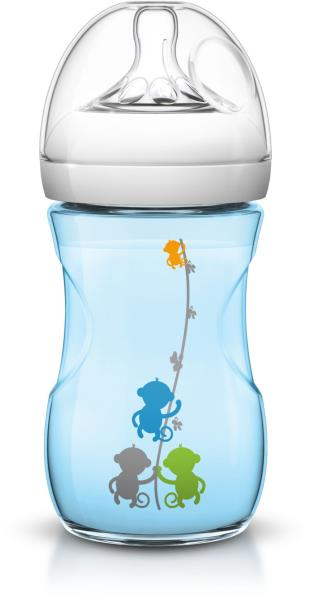 AVENT Barošanas pudelīte Natural 260 ml, 1M+, zila SCF 621/17 bērnu barošanas pudelīte