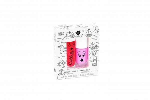 Nailmatic Kids Netoksiska bērnu nagu laka COOKIE - rozā & bērnu lūpu krāsa ROLLFRAISE - zemeņu, HOLIDAYS NKHOLIDAYS2 Bērnu smaržas