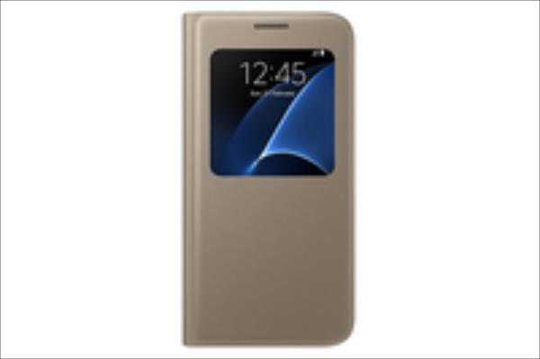 Samsung EF-CG930PFEGWW S View Case S7 Gold maciņš, apvalks mobilajam telefonam