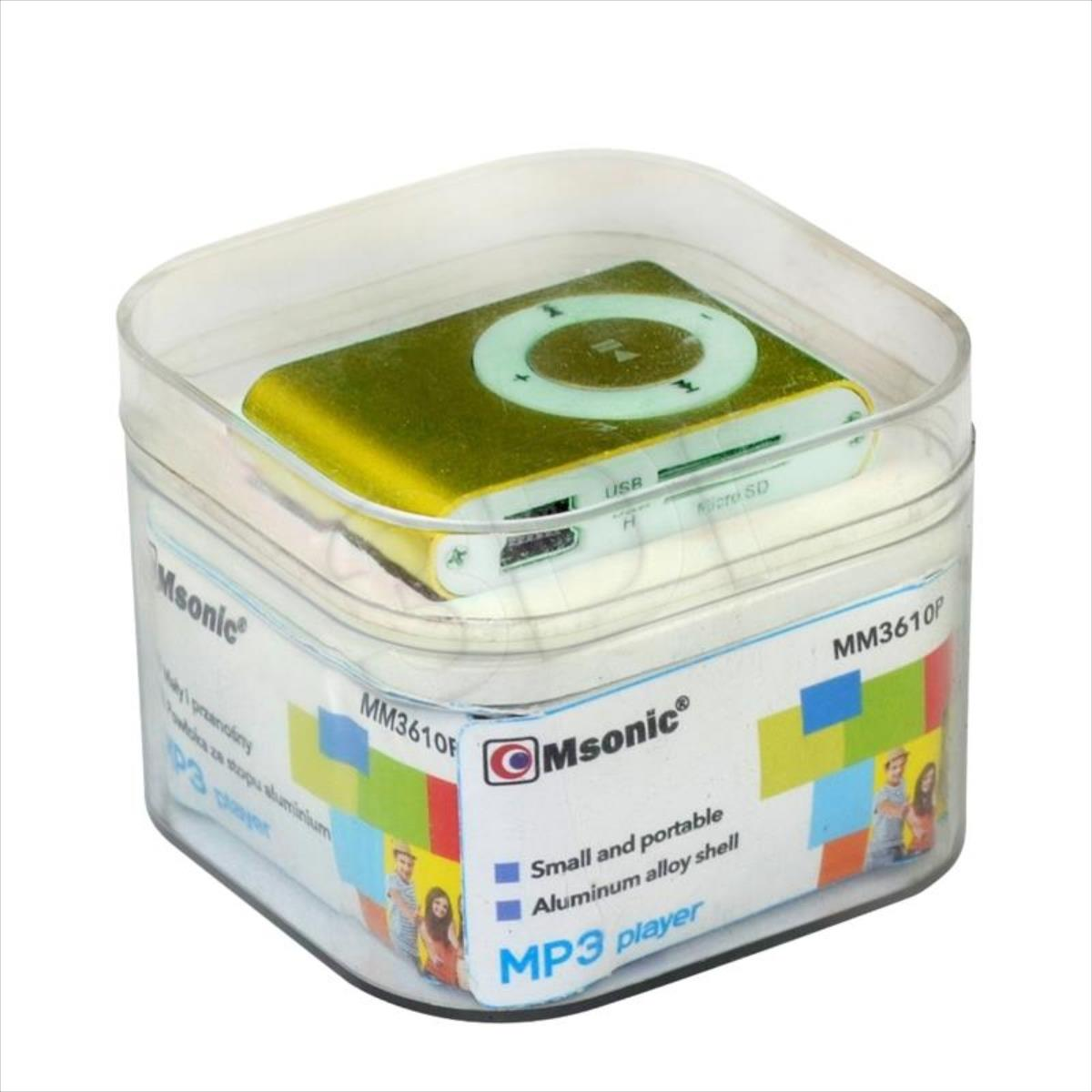 MSONIC MP3 Player with card reader, earphones, miniUSB cable, aluminum Yellow MP3 atskaņotājs
