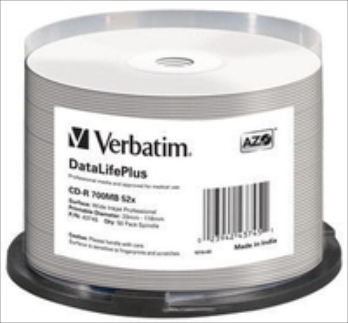Verbatim CD-R [ 50pcs, 700MB, 52x, spindle | WHITE WIDE PRINTABLE SURFACE ] matricas