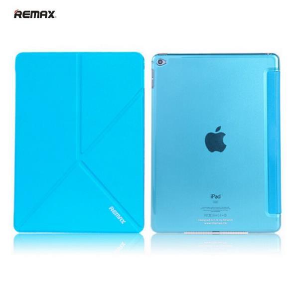 Remax Smart Super Plāns Eko-Ādas Sāniski Atverams maks ar Multi Statīv un  Auto On-Off Apple iPad Air 2 Zils planšetdatora soma