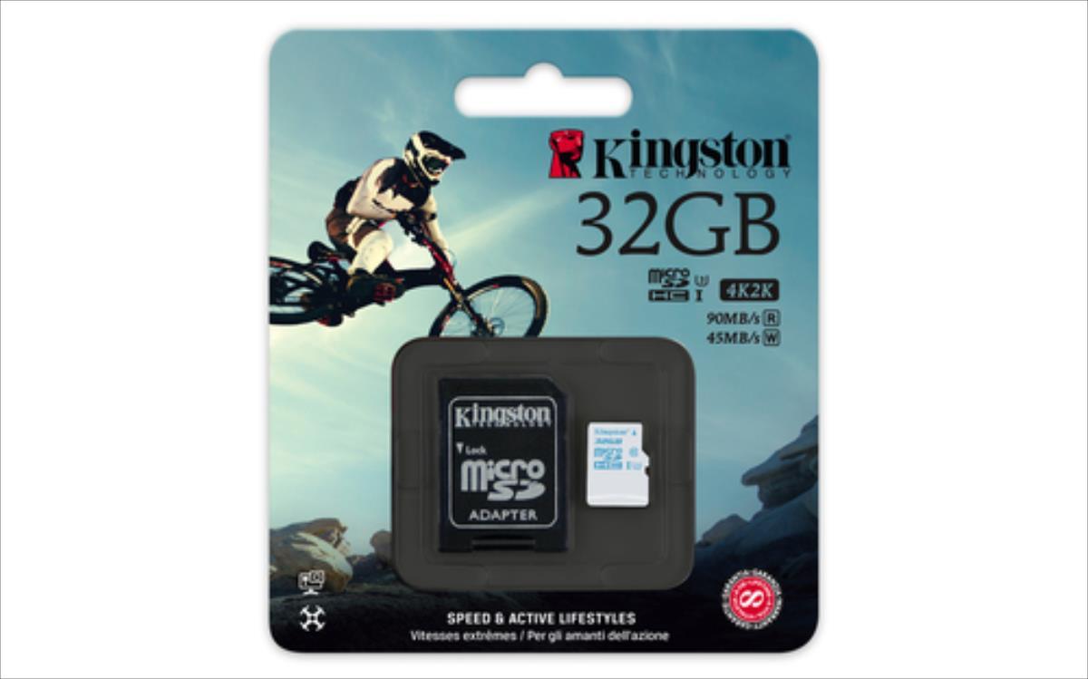 Kingston 32GB microSDHC UHS-I U3 Action Card, 90R/45W + SD Adapter atmiņas karte