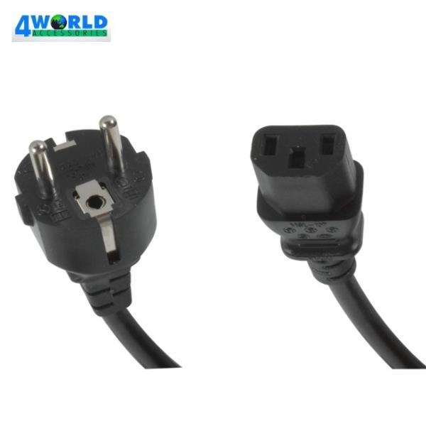 4World 05267 Strāvas vads (Datora) Euro/IEC C13 Standarts 3 Kontaktu Spraudnis 1.8m Barošanas kabelis
