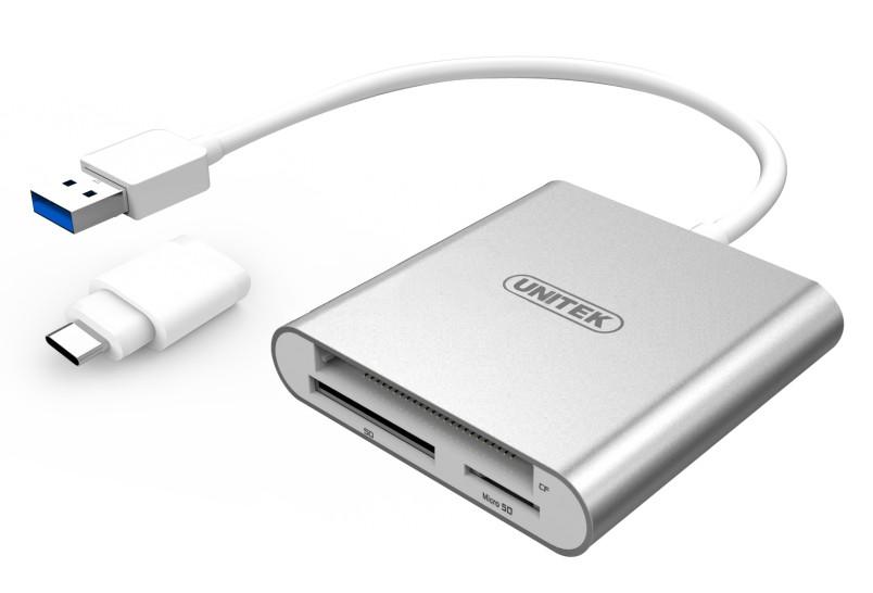 Unitek USB3.0 to Multi-In-One Aluminium Card Reader (With USB Type-C Adaptor) aksesuārs portatīvajiem datoriem