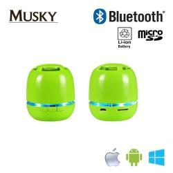 Musky M-BTMINI-GE Bluetooth 3.0 Universāls skaļš mini skaļrunis Micro SD/Aux Zaļš datoru skaļruņi