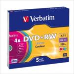 VERBATIM DVD + RW  SINGLE SLIM COLOUR matricas