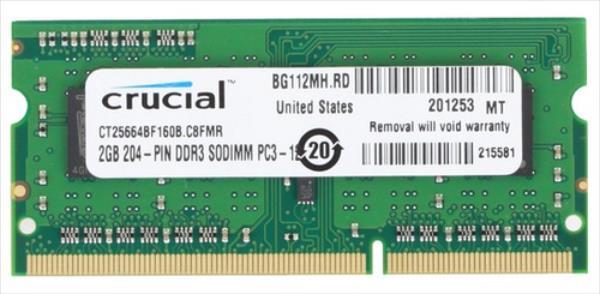 CRUCIAL NB MEMORY 2GB PC12800 DDR3/SO CT25664BF160BJ