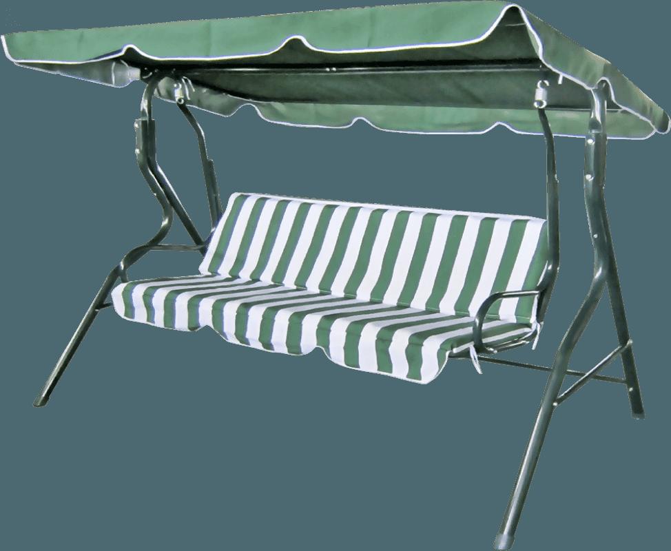 Šūpuļkrēsls 3-vietīgs svītrains zaļš/balts Dārza mēbeles