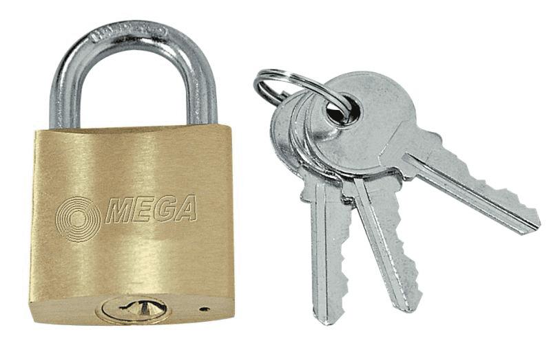 Mega Piekaram slēdzene misiņa rudīts šeikelis 40mm 3 atslēgas