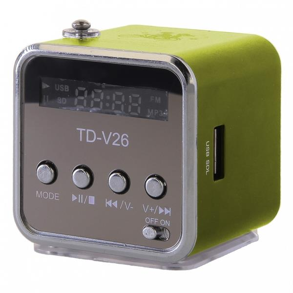 Global Technology MINI SPEAKER GT TD-V26 GREEN datoru skaļruņi