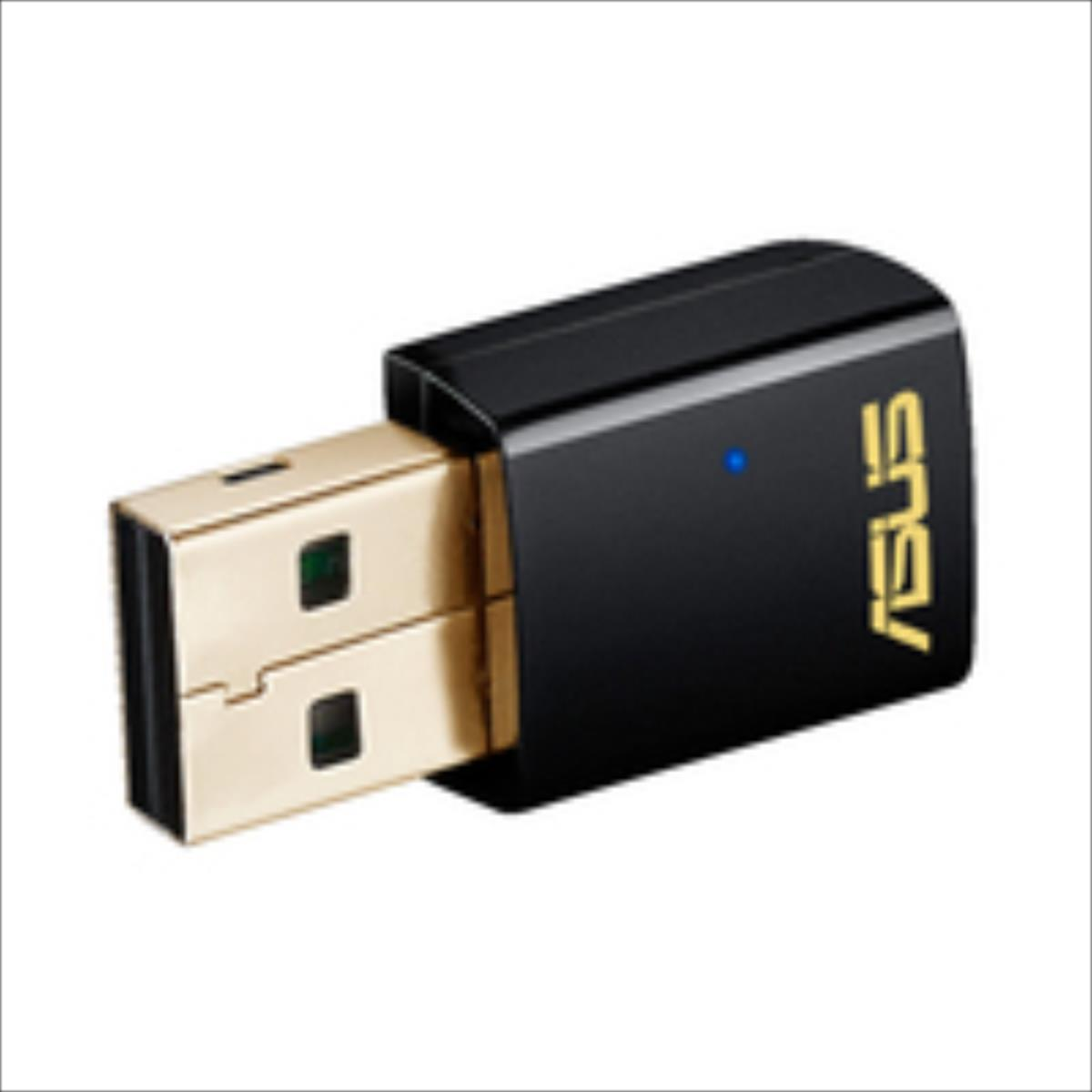 Asus AC600 Dual-band USB client card, 802.11ac, 433/150Mbps WiFi adapteris