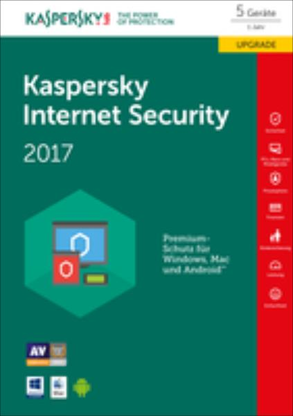 Kaspersky Internet Security 2017 5 Lizenzen Upgrade FFP Box