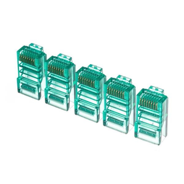 Netrack plug RJ45 8p8c, UTP for stranded cable, cat. 5e (100 pcs.), green