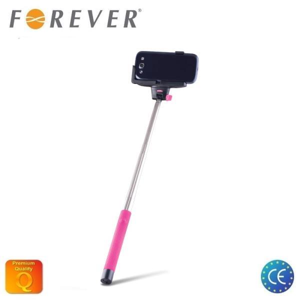 Forever MP-100 Bluetooth Selfie Stick 100cm - Universāla stiprinājuma statīvs ar iebūvētu Pulti Rozā
