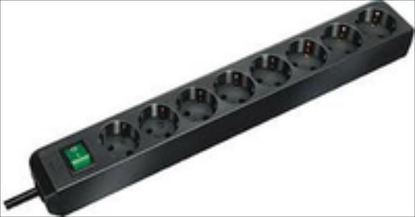 Steckdosenleiste ECO-Line Brennenstuhl  8fach 3m black elektrības pagarinātājs