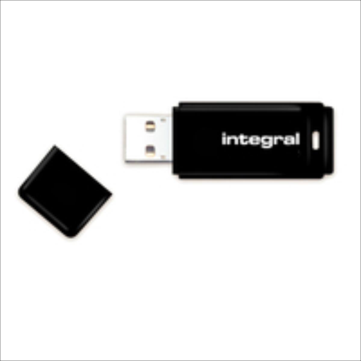 Integral USB 8GB Black, USB 2.0 with removable cap USB Flash atmiņa