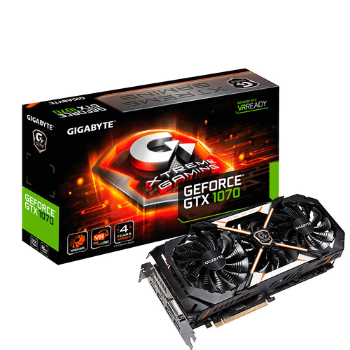 Gigabyte GeForce GTX 1070 Xtreme Gaming, 8GB GDDR5 (256 Bit), HDMI, DVI, 3xDP video karte