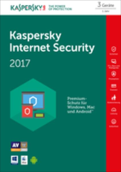 Kaspersky Internet Security 2017 3 Lizenzen FPP Box