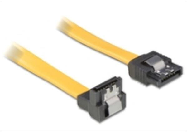 Delock cable SATA 10cm down/straight metal yellow kabelis, vads