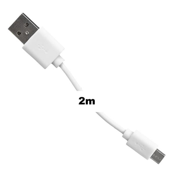 Whitenergy data and transfer Cable micro USB  2.0  200cm White kabelis, vads