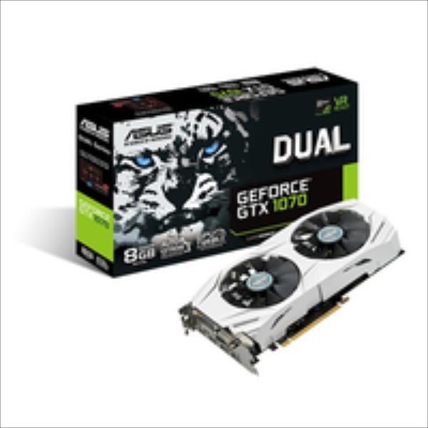 Asus DUAL-GTX1070-8G NVIDIA, 8 GB, GeForce GTX 1070, GDDR5-SDRAM, Memory clock speed 8008 MHz, PCI Express 3.0, HDMI ports quantity 2, DVI-D video karte